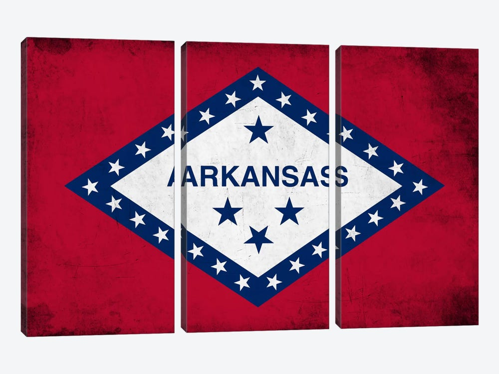 State Flag Grunge Series: Arkansas 3-piece Art Print