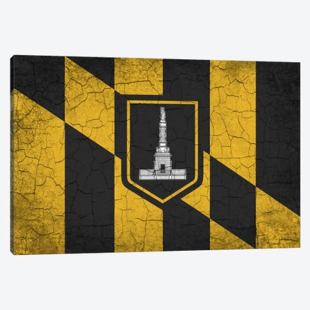 Baltimore, Maryland Cracked Paint City Flag Canvas Print #FLG557} by iCanvas Art Print
