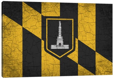 Baltimore, Maryland Cracked Paint City Flag Canvas Print #FLG557