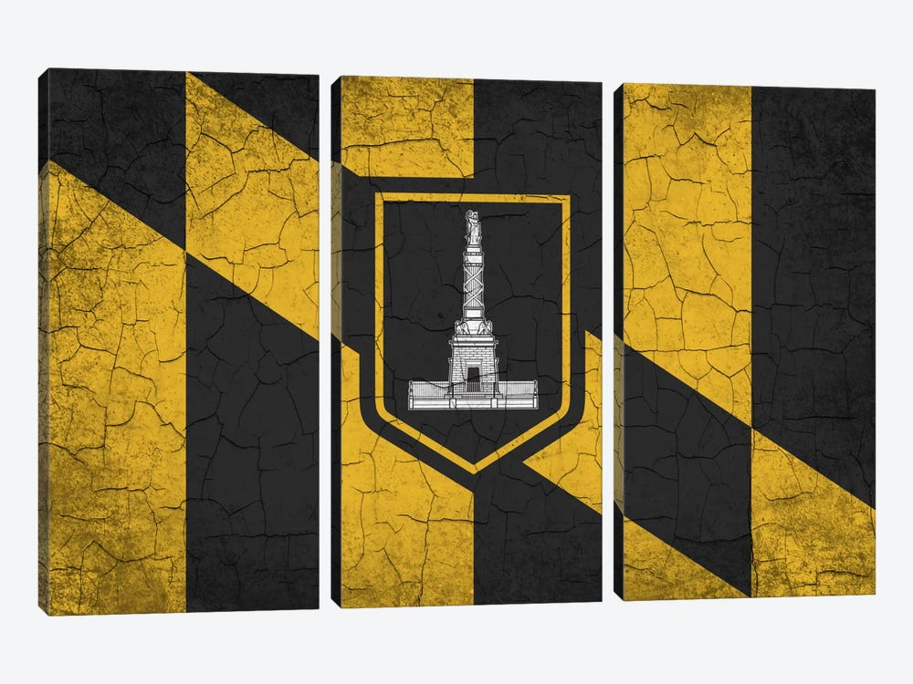 Baltimore, Maryland Cracked Paint City Flag by iCanvas 3-piece Canvas Artwork