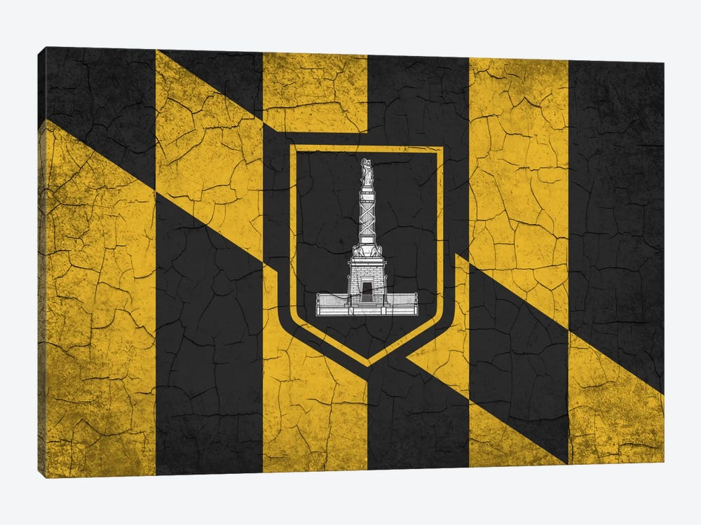 Baltimore, Maryland Cracked Paint City Flag by iCanvas 1-piece Canvas Wall Art