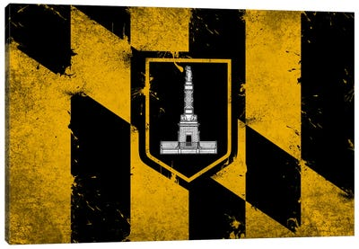 Baltimore, Maryland Fresh Paint City Flag Canvas Print #FLG558
