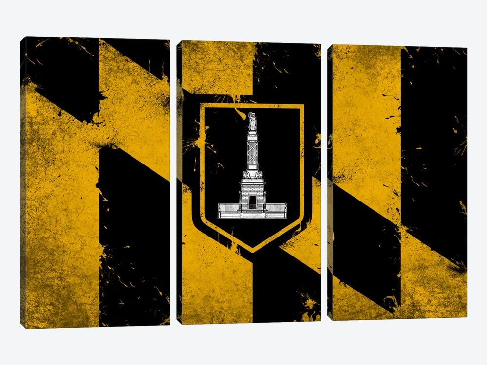 Baltimore, Maryland Fresh Paint City Flag by iCanvas 3-piece Canvas Art Print