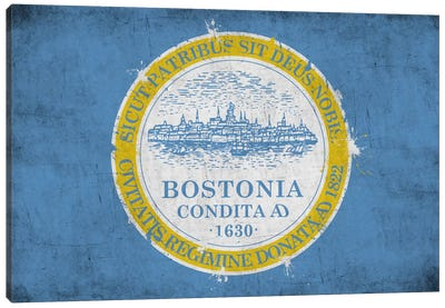 BostonMassachusetts Flag - Grunge Painted Canvas Art Print