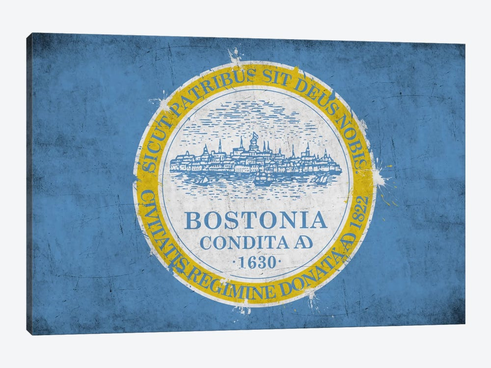 BostonMassachusetts Flag - Grunge Painted by iCanvas 1-piece Art Print