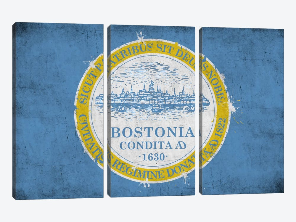 BostonMassachusetts Flag - Grunge Painted by iCanvas 3-piece Art Print