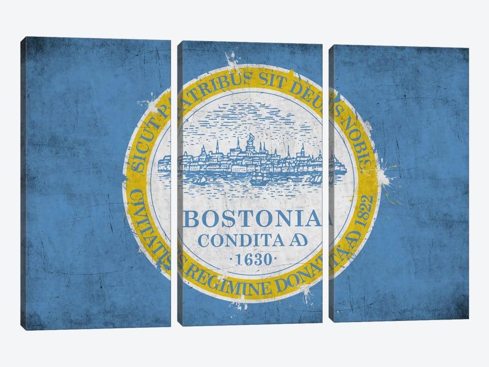 BostonMassachusetts Flag - Grunge Painted by iCanvas 3-piece Art Print