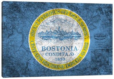 City Flag Overlay Series: Boston, Massachusetts (Vintage Map) Canvas Print #FLG565
