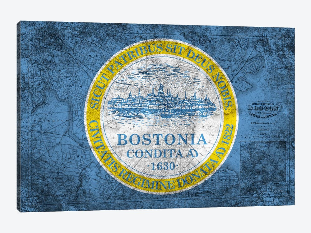 City Flag Overlay Series: Boston, Massachusetts (Vintage Map) 1-piece Canvas Print