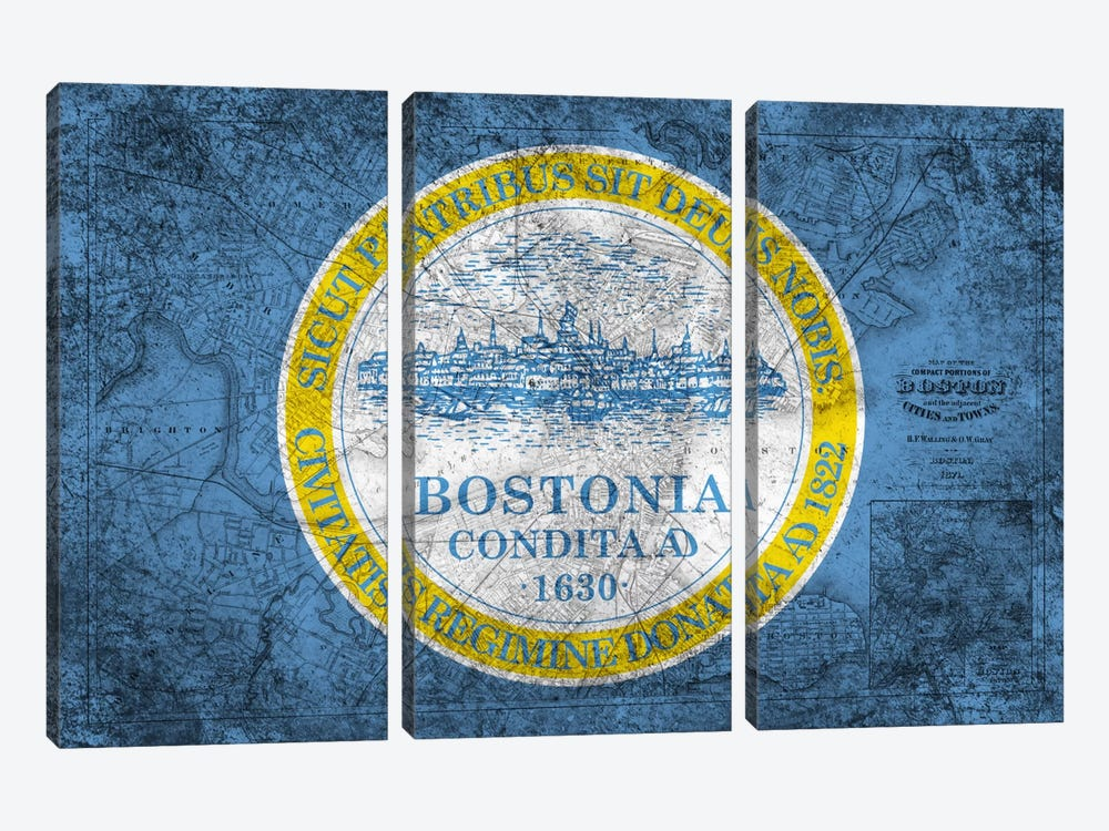 City Flag Overlay Series: Boston, Massachusetts (Vintage Map) 3-piece Art Print