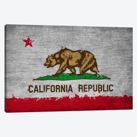 California Fresh Paint State Flag on Wood Board Canvas Print #FLG568} by iCanvas Canvas Art Print