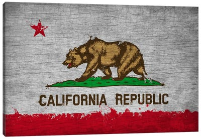California Fresh Paint State Flag on Wood Board Canvas Print #FLG568