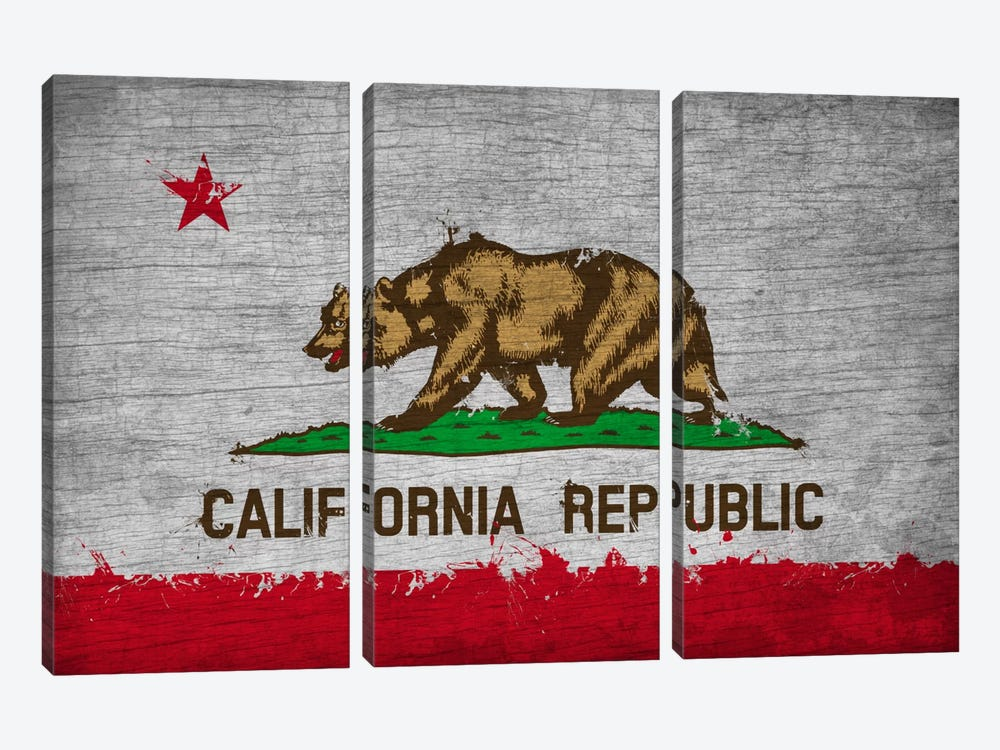 California Fresh Paint State Flag on Wood Board by iCanvas 3-piece Canvas Artwork