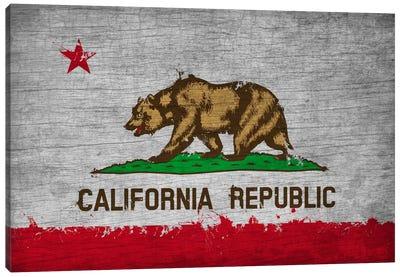California Fresh Paint State Flag on Wood Board Canvas Art Print