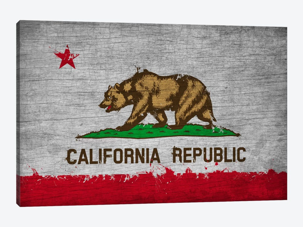 California Fresh Paint State Flag on Wood Board by iCanvas 1-piece Canvas Wall Art