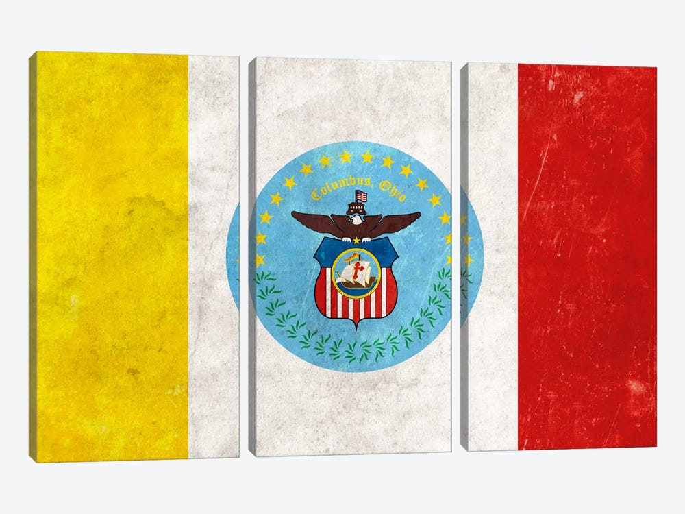 City Flag Grunge Series: Columbus, Ohio I by iCanvas 3-piece Canvas Art Print