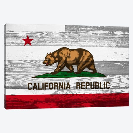 California State Flag on Wood Panels Canvas Print #FLG570} by iCanvas Canvas Artwork