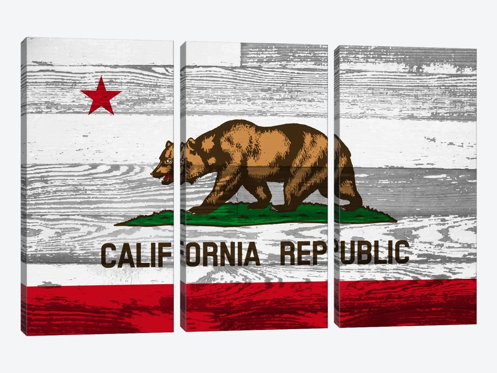 California State Flag on Wood Panels by iCanvas 3-piece Canvas Art Print