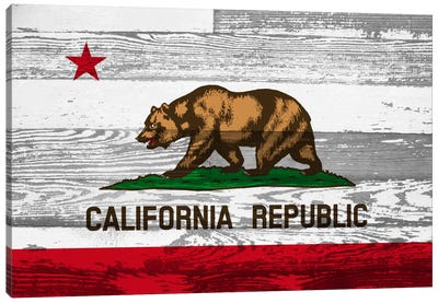 California State Flag on Wood Panels Canvas Art Print