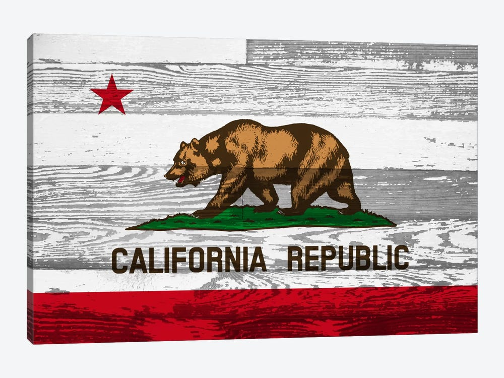 California State Flag on Wood Panels by iCanvas 1-piece Canvas Art Print