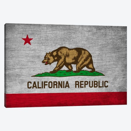 California State Flag on Wood Board Canvas Print #FLG571} by iCanvas Canvas Artwork