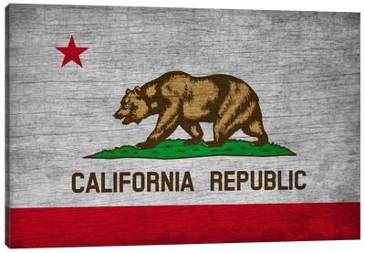 California State Flag on Wood Board Canvas Print #FLG571