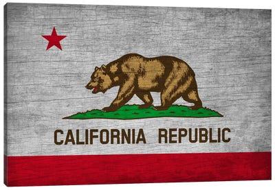 California State Flag on Wood Board Canvas Art Print