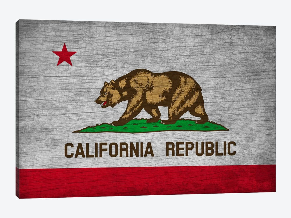 California State Flag on Wood Board by iCanvas 1-piece Canvas Art