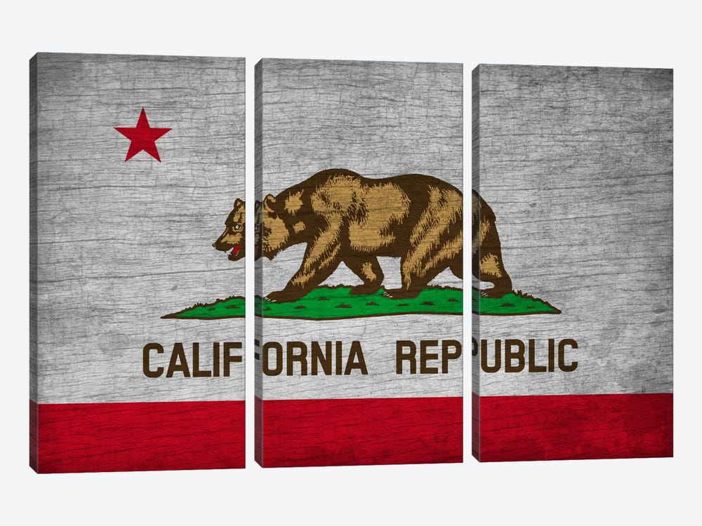 California State Flag on Wood Board by iCanvas 3-piece Canvas Artwork
