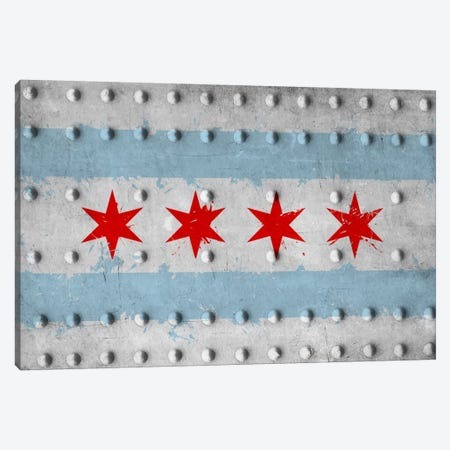 Chicago City Flag (Riveted Metal) Canvas Print #FLG572} by iCanvas Canvas Art