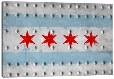 Chicago City Flag (Riveted Metal) Canvas Print #FLG572