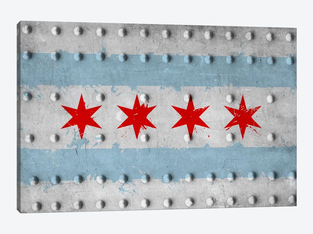 Chicago City Flag (Riveted Metal) by iCanvas 1-piece Art Print