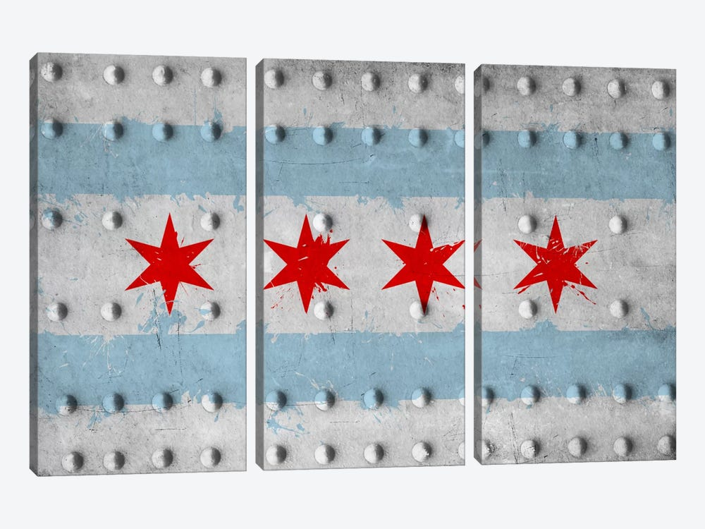 Chicago City Flag (Riveted Metal) by iCanvas 3-piece Canvas Art Print