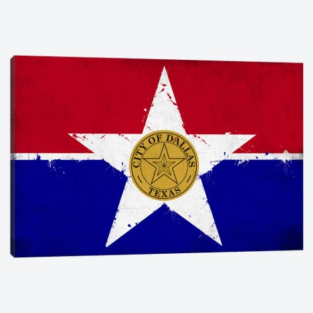 Dallas, Texas Fresh Paint City Flag Canvas Print #FLG576} by iCanvas Canvas Art Print