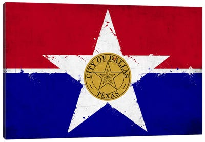Dallas, Texas Fresh Paint City Flag Canvas Art Print