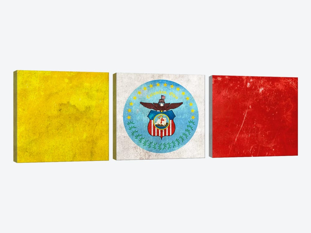 City Flag Grunge Series: Columbus, Ohio (Panoramic) by iCanvas 3-piece Canvas Wall Art