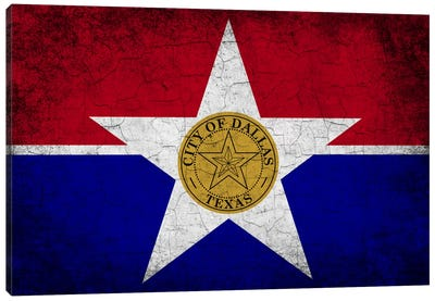 Dallas, Texas Cracked Paint City Flag Canvas Print #FLG581