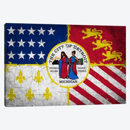 Detroit, Michigan Cracked Paint City Flag Canvas Print #FLG588} by iCanvas Art Print