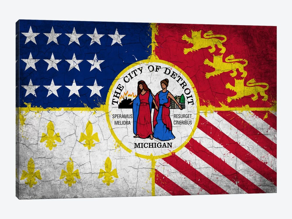 Detroit, Michigan Cracked Paint City Flag by iCanvas 1-piece Canvas Wall Art