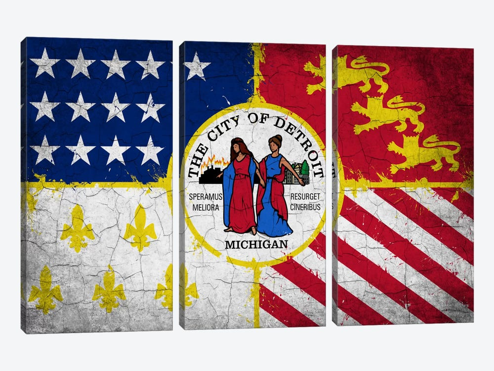 Detroit, Michigan Cracked Paint City Flag 3-piece Canvas Artwork