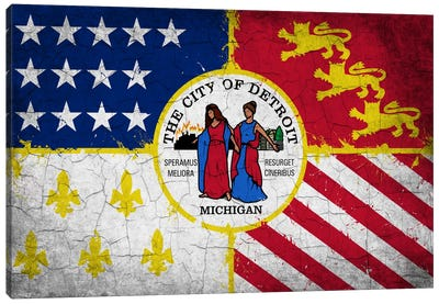 Detroit, Michigan Cracked Paint City Flag Canvas Art Print