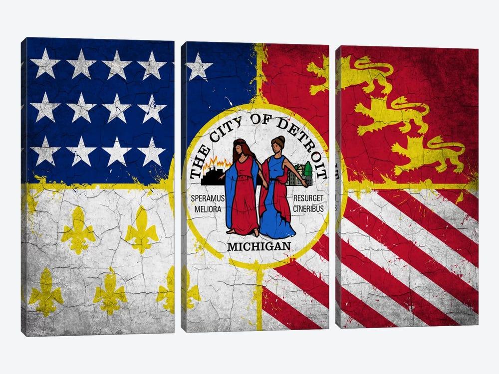 Detroit, Michigan Cracked Paint City Flag by iCanvas 3-piece Canvas Artwork