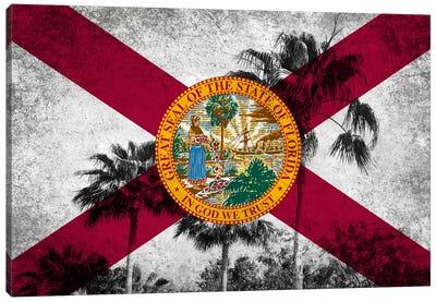 Forida FlagGrudge Palm Trees Canvas Print #FLG597