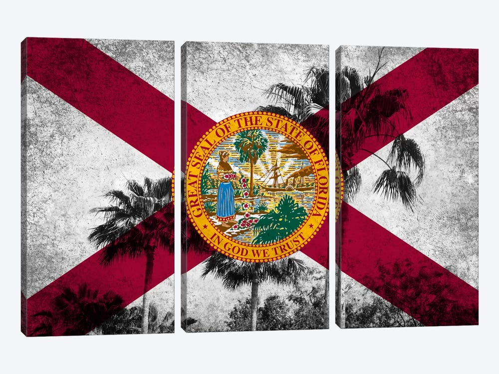 Forida FlagGrudge Palm Trees by iCanvas 3-piece Canvas Wall Art