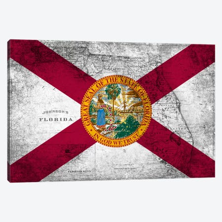 Florida (Vintage Map) Canvas Print #FLG598} by iCanvas Canvas Wall Art
