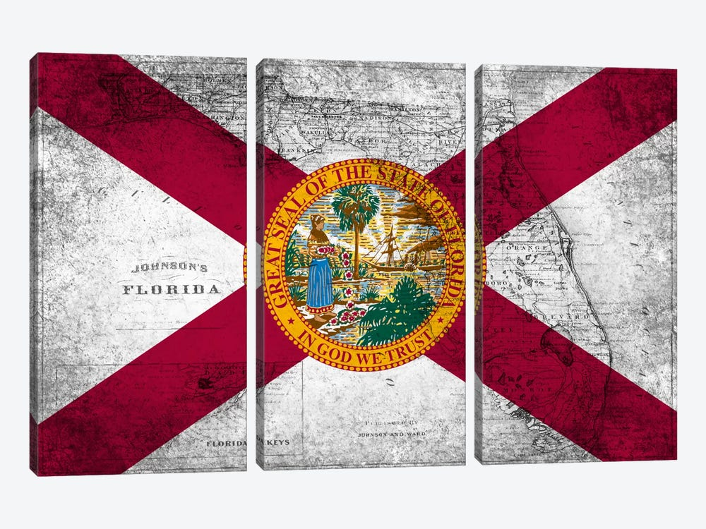 Florida (Vintage Map) by iCanvas 3-piece Art Print
