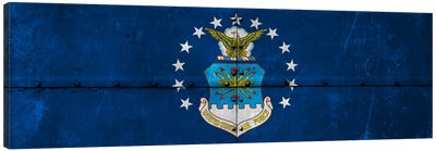U.S. Air Force Flag (Riveted Fighter Jet Panel Background) III Canvas Art Print