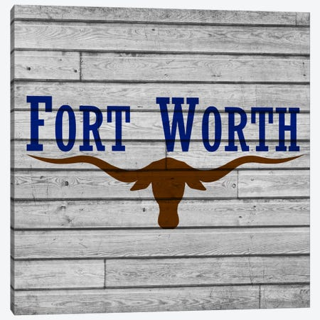 Fort Worth, Texas City Flag on Wood Planks Canvas Print #FLG603} by iCanvas Canvas Wall Art