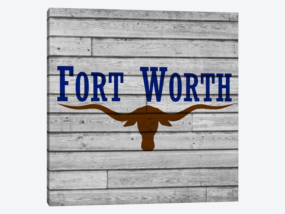 Fort Worth, Texas City Flag on Wood Planks by iCanvas 1-piece Canvas Art Print