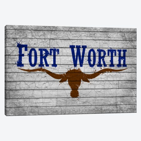 Fort Worth, Texas Cracked Fresh Paint City Flag on Wood Planks Canvas Print #FLG605} by iCanvas Canvas Print